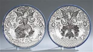 2 Continental faience plates, 17th / 18th c.