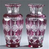 Pair of ruby cut to clear Bohemian crystal vases.