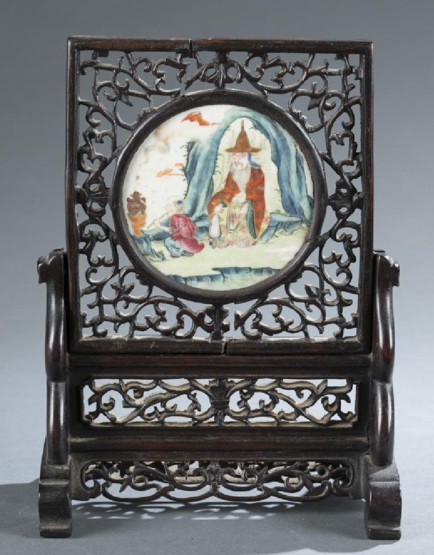 Chinese porcelain inset table screen.