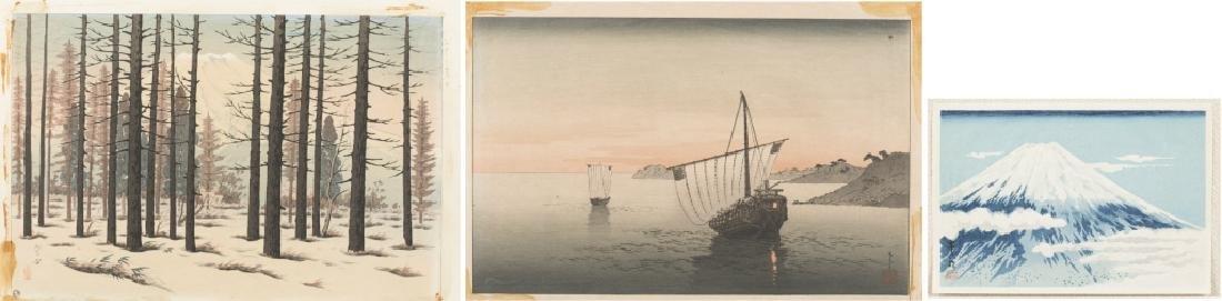 3 Modern Japanese woodblock prints.