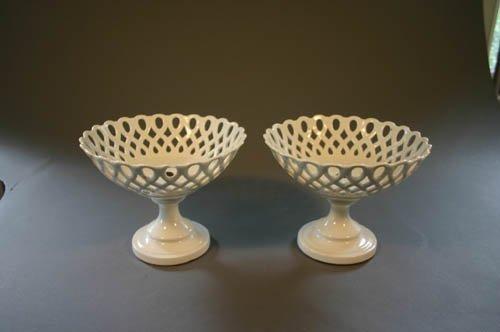 5502: Pair of 19th century reticulated porcelain com
