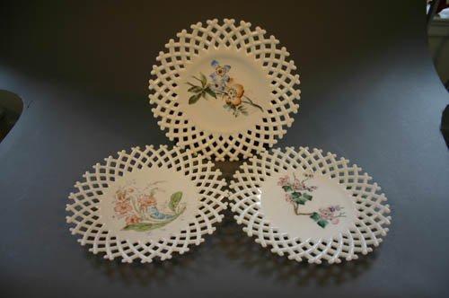 5509: Set of 3 milk glass lattice work plates with h