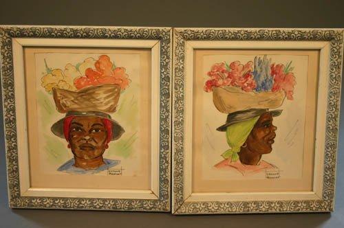5521: Pr. Pastel Black Americana drawings, Lenore Hu