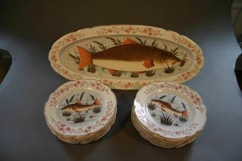 5531: European porcelain fish set: platter & 12 plat