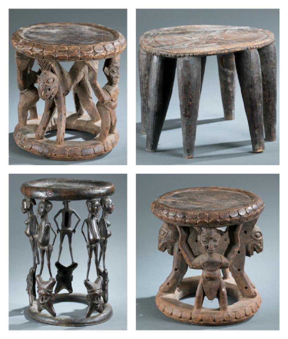 4 African style stools. 20th century.