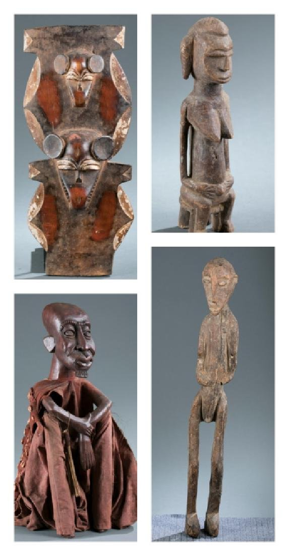 3 African figures & a mask.