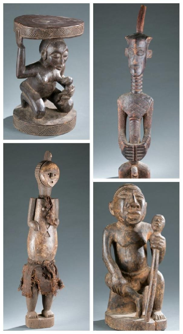 3 Central African figures & a stool.