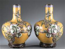 Pair of Chinese cloisonne globular vases.