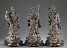 A set of 3 figures of Fu Lu and Shou