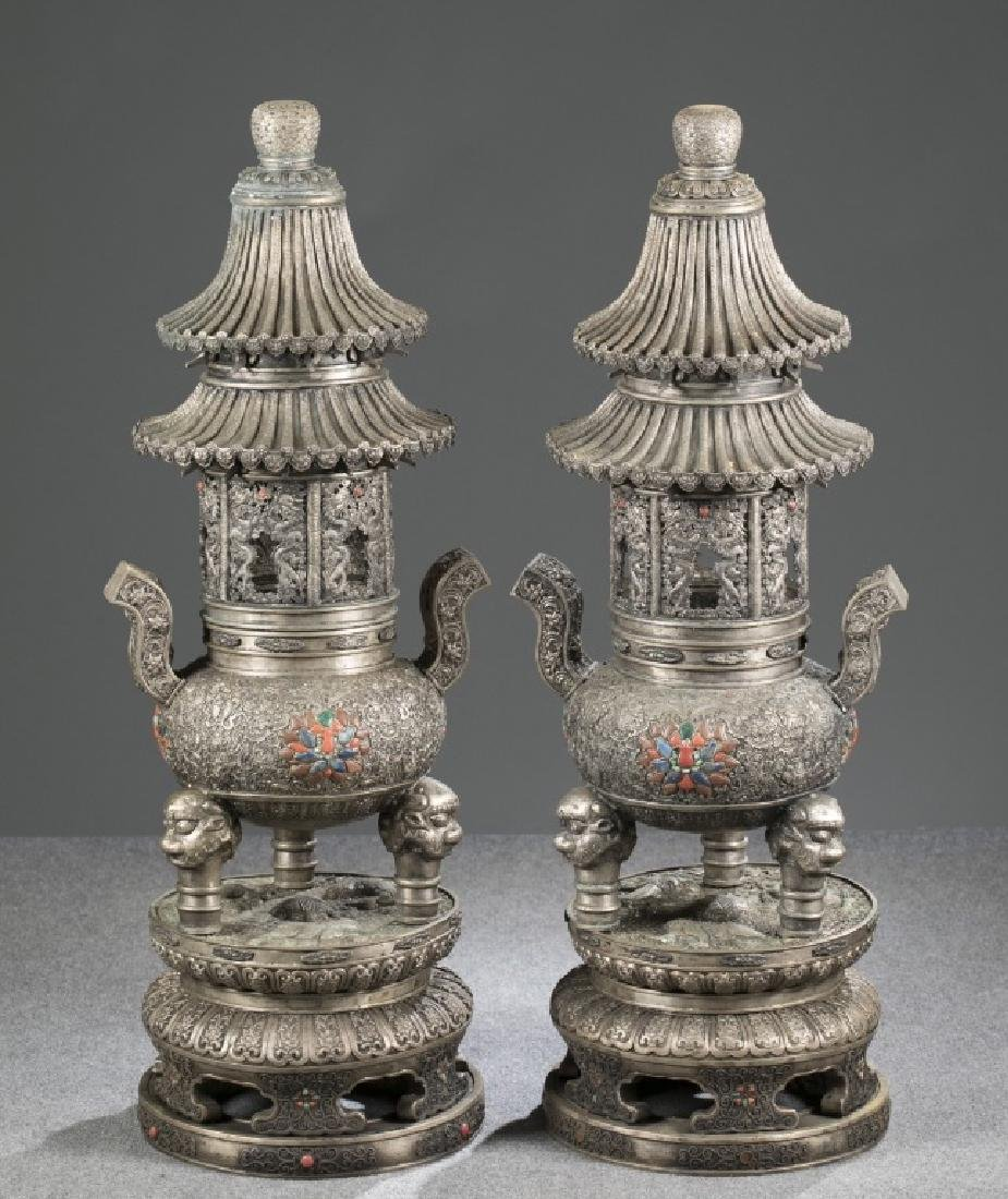 """Pair of Mongolian silver temple incense burners, 42""""h."""