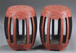 Pair of Chinese cinnabar style stools.