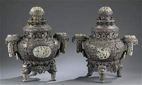 Pair of Chinese incense burners.