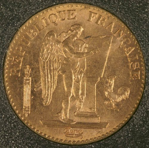 3501: 1894-A French 20 Francs gold coin, XF, stand