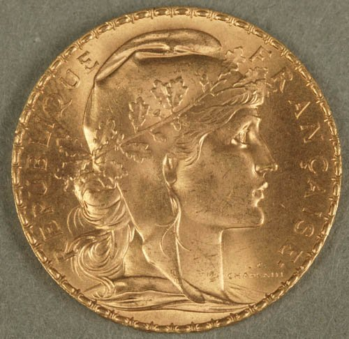 3502: 1907 French 20 Francs gold coin, XF, with ro