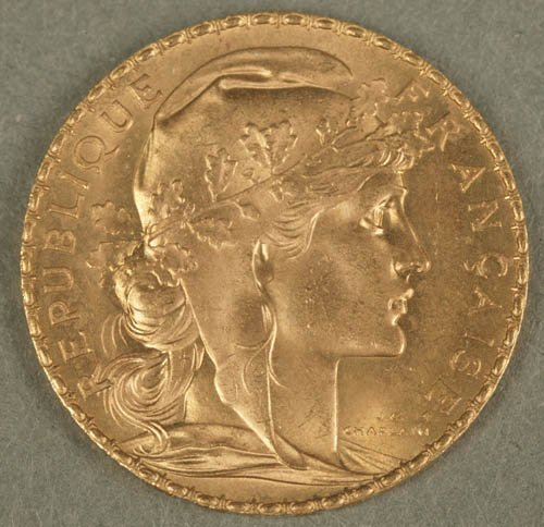 3504: 1907 French 20 Francs gold coin, XF, with ro