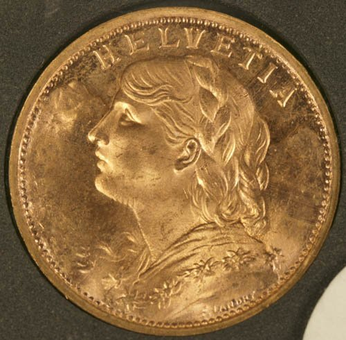 3507: 1935 Swiss 20 Francs gold coin, MS64.