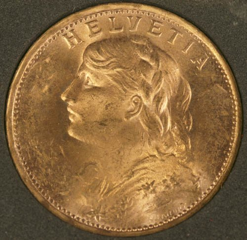 3508: 1935 Swiss 20 Francs gold coin, MS64.