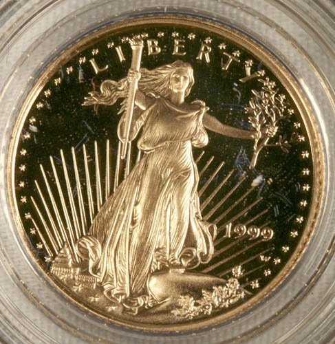 3509: American eagle $5 gold coin proof, 1999.