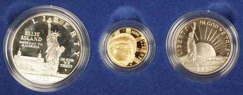 3513: US Liberty proof 3 coin set, $1, 1/2 Dollar, $5
