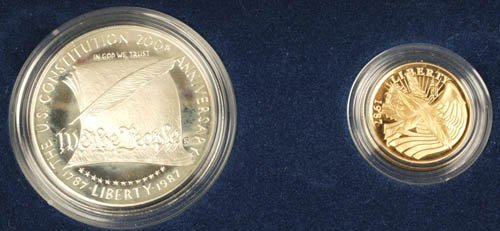 3514: US Constitution proof 2 coin set, $1 & $5