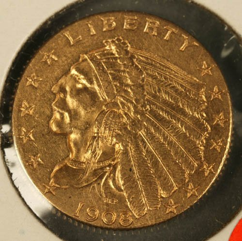 3516: Indian head $2.50 gold, XF, 1908.