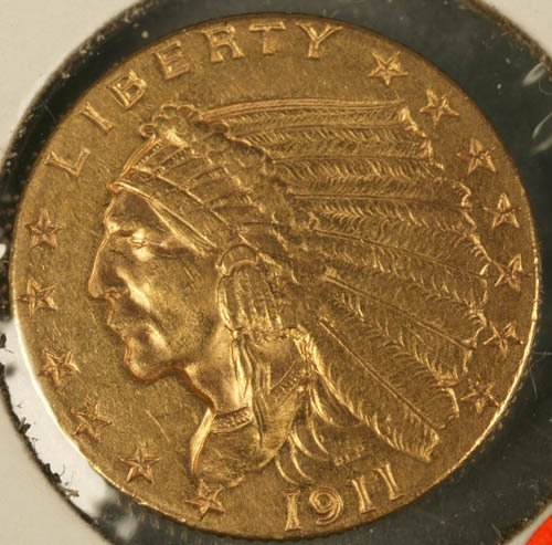 3517: Indian head $2.50 gold, XF, 1911.