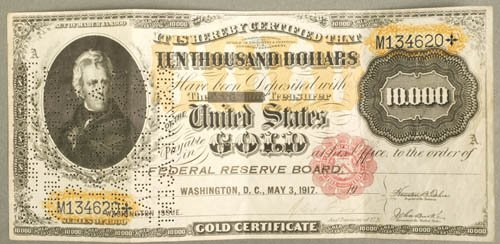 3526: United States $10,000 Gold certificate, Wash