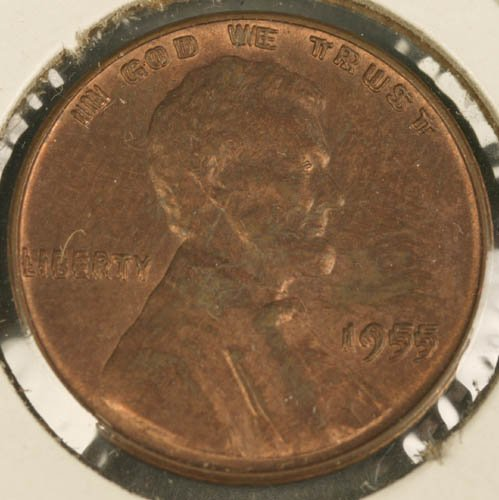 3536: Lincoln penny double strick, 1955.
