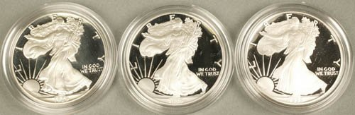 3544: Lot of 3 American eagle silver, 1 oz. proof.