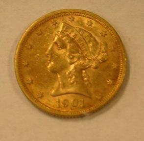 3510A: 3510A: 1901 U.S. Half Eagle variety 2 $5 Gold, M