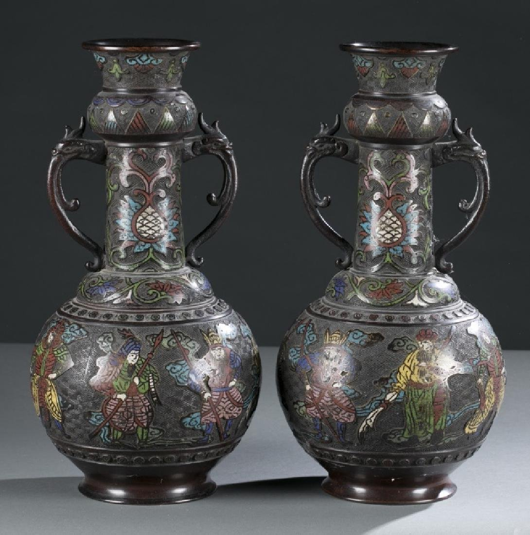 Pair of Japanese Showa Champleve vases.
