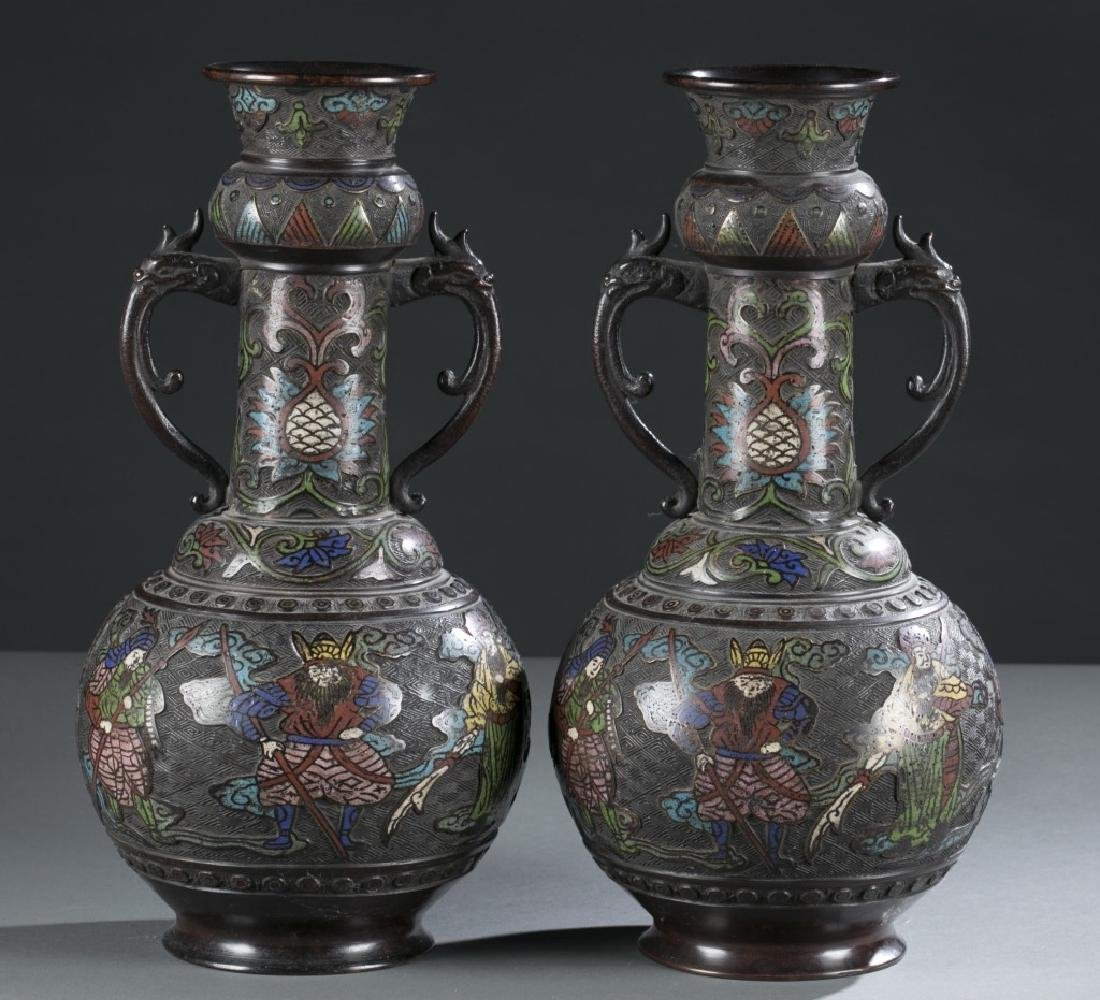 Pair of Japanese Showa Champleve vases. - 6