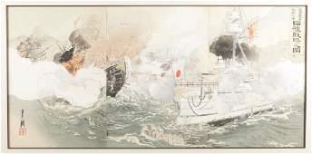 Japanese triptych print Gekko Ogata