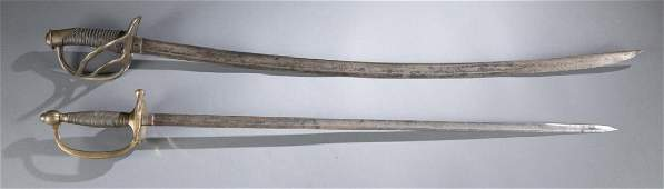 A pair of Civil War swords.