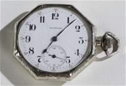 Illinois 14k white gold pocket watch