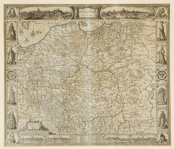 1278: [MISCELLANY]. 4 framed pieces (3 maps and 1 v