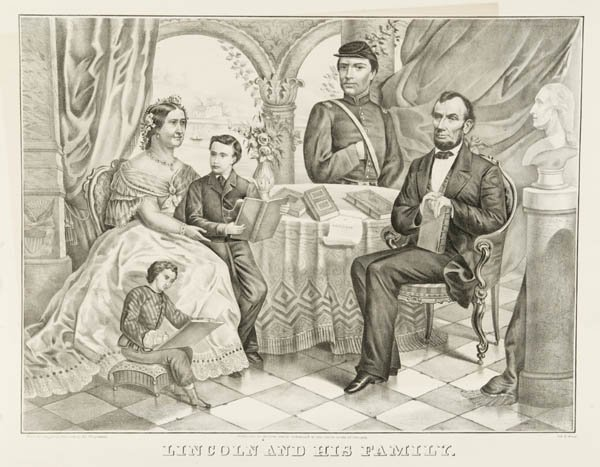 3: Lincoln And His Family. 1865 Lithograph