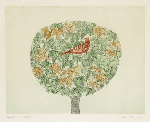 76: Keiko Minami. Bird in Tree. Color etching.