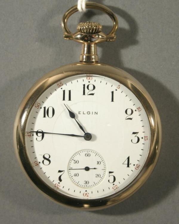 013: An Elgin Watch Co. size 16 railroad pocket watch m