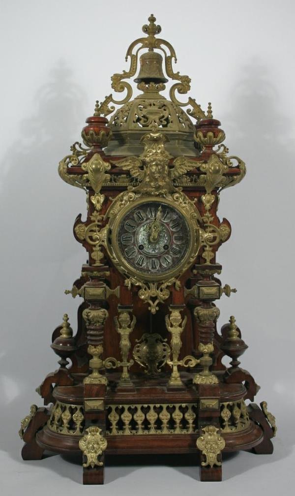 135: A Tiffany & Co. Rococo style walnut  mantel clock