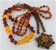 3 Costume faux amber necklaces