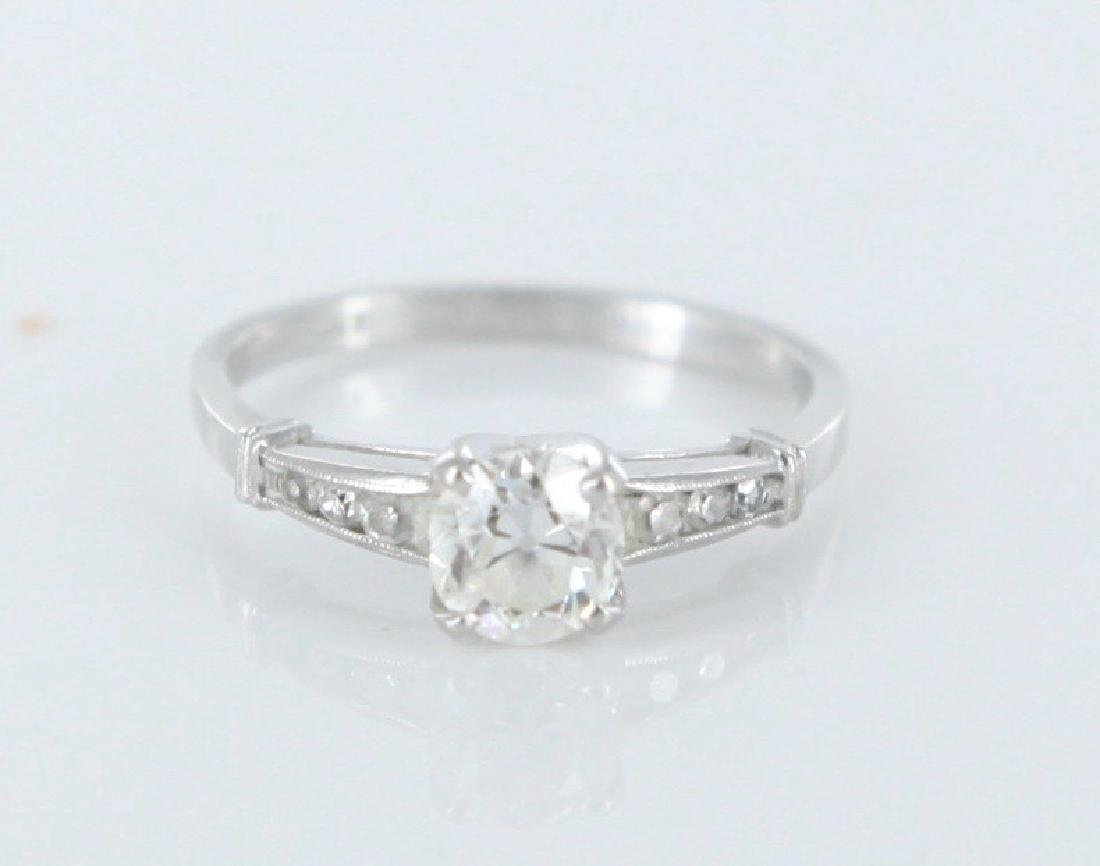 Round .80 carat diamond ring in platinum.