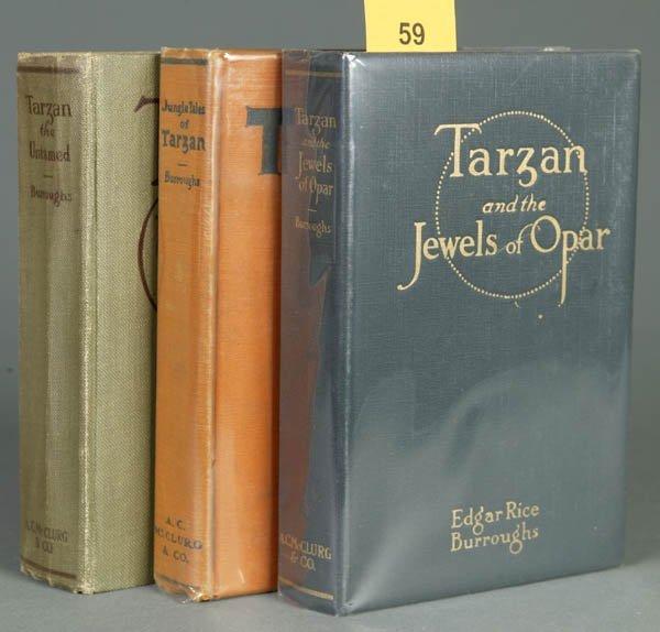 59: Burroughs, Edgar Rice. 3 Tarzan 1st eds. (1918-19)