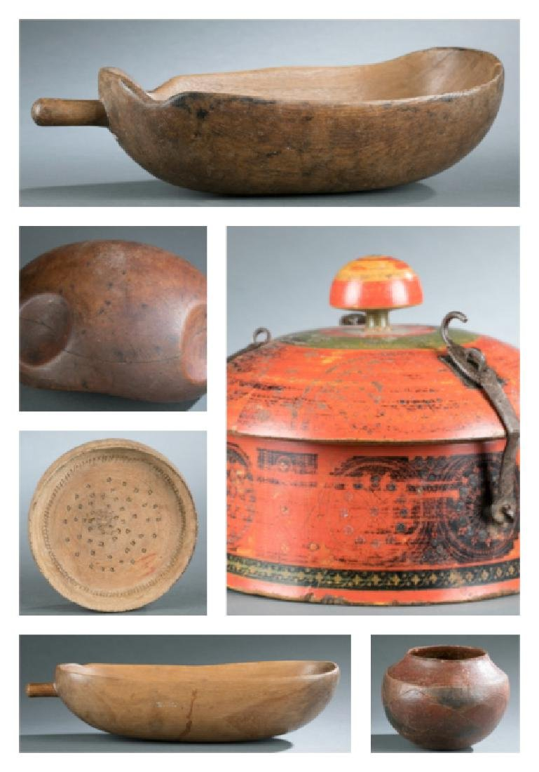6 ethnographic vessels. 20th century.