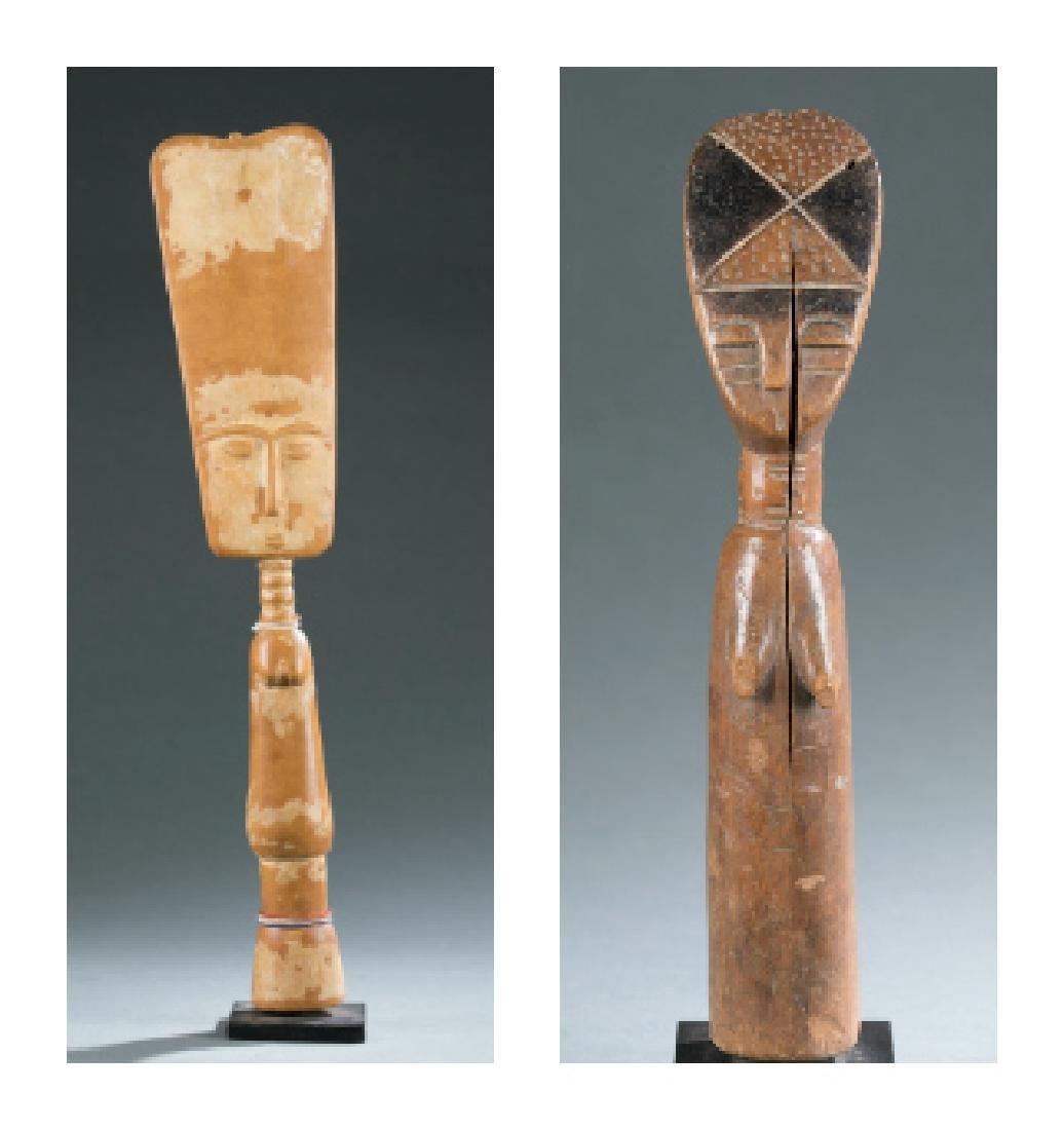 2 Fante wooden dolls. c.20th century.