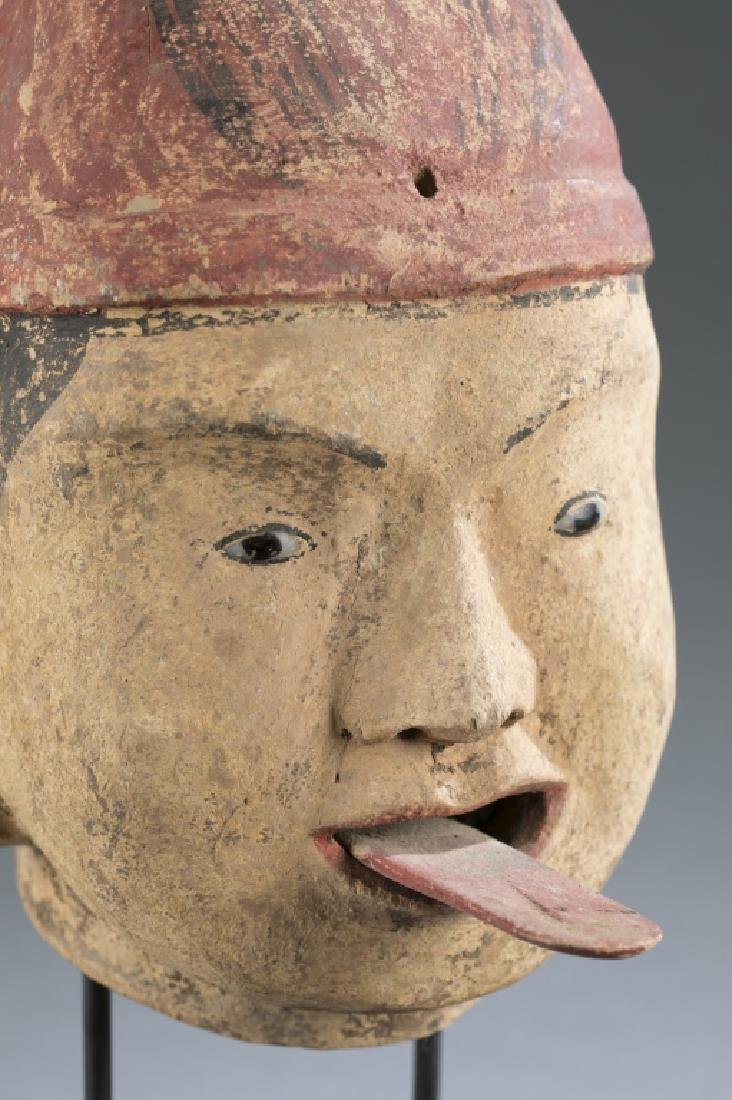 A Myanmar traditional wooden male puppet head. - 2