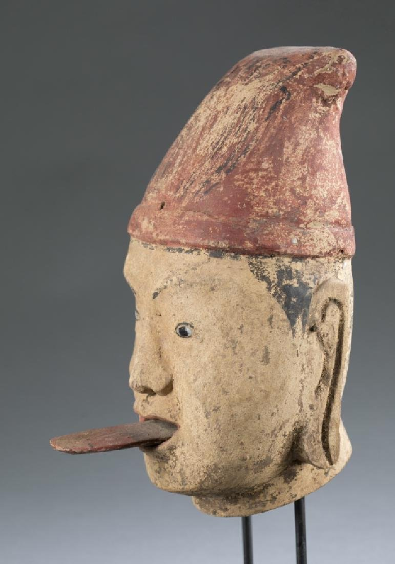 A Myanmar traditional wooden male puppet head. - 3