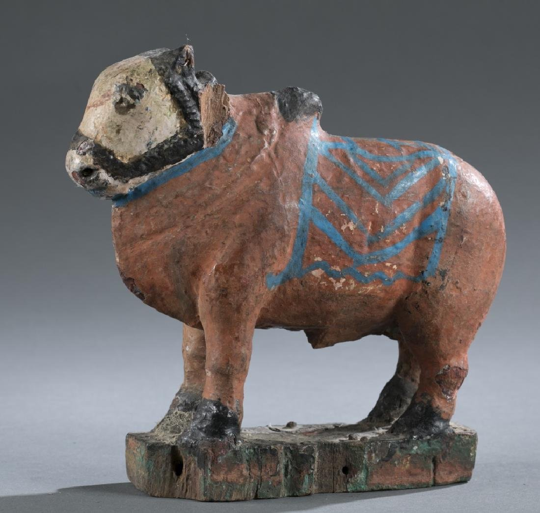 Teak wooden cow pull toy, 20th century. - 2