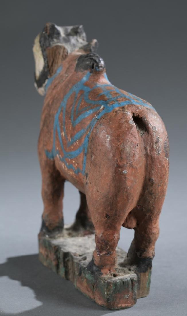 Teak wooden cow pull toy, 20th century. - 3