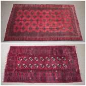 2 Turkmen Afghan rug. c.20th century.